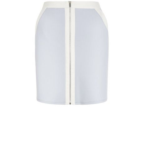 White Colour Block Zip Front A-Line Skirt  | New Look