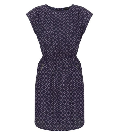 Blue Tile Print Shirred Waist Cap Sleeve Dress  | New Look