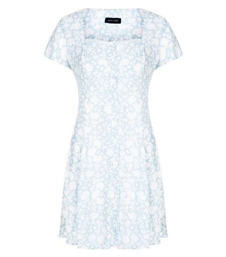 Light Blue Floral Print Button Front Skater Dress  | New Look