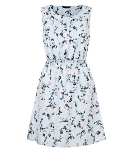 Blue Floral Print Shirred Waist Mini Dress  | New Look