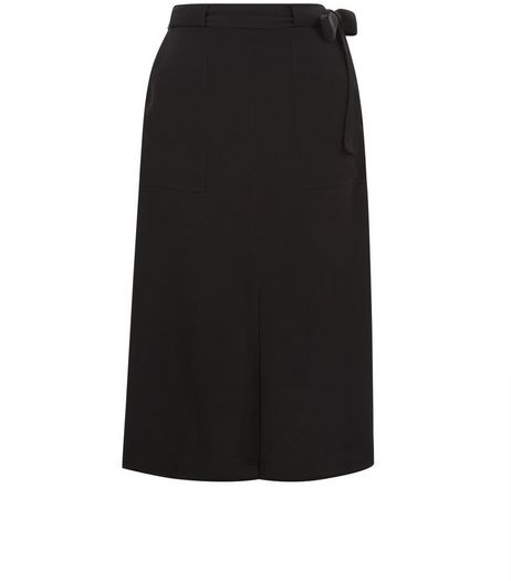 Black Tie Waist Split Side Midi Skirt | New Look