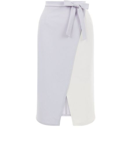 White Colour Block Wrap Front Tie Waist Midi Skirt  | New Look