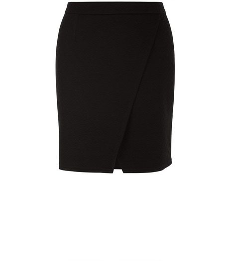 Black Wrap Front Mini Skirt  | New Look