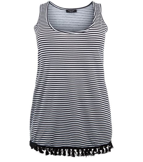Curves Black Stripe Tassel Hem Vest | New Look