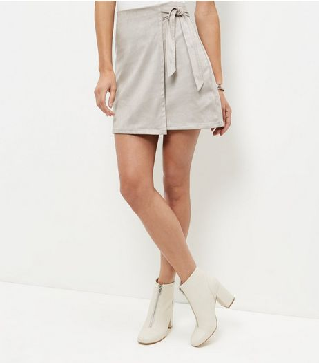 Mink Suedette Tie Wrap Front Mini Skirt  | New Look