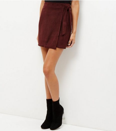 Burgundy Suedette Tie Wrap Front Mini Skirt  | New Look
