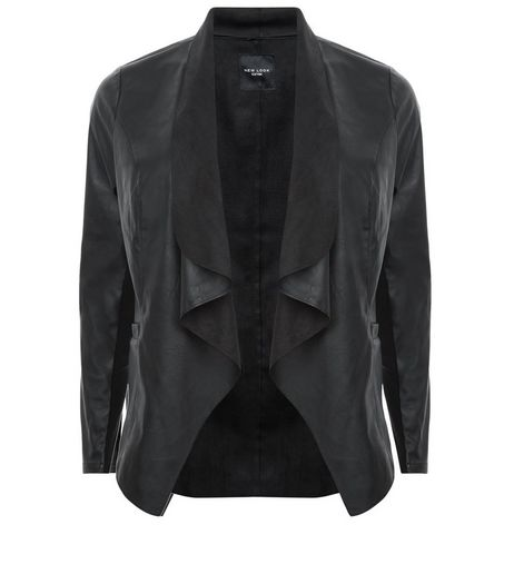 Curves Black Leather-Look Waterfall Jacket | New Look