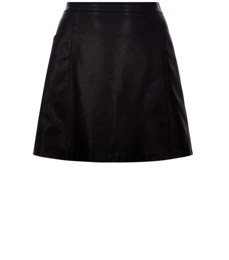 Curves Black Leather-Look A-Line Skirt | New Look