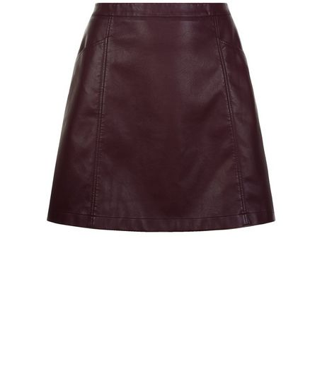 Curves Burgundy Leather-Look A-Line Skirt | New Look