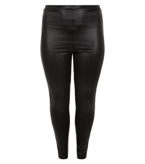 Curves Black Coated Leggings | New Look
