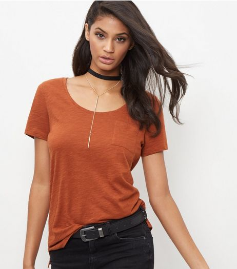 Rust Single Pocket Slub T-Shirt  | New Look