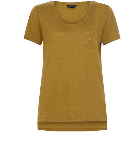 Olive Green Single Pocket Slub T-Shirt  | New Look
