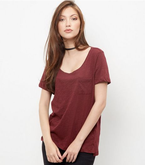 Burgundy Single Pocket Slub T-Shirt  | New Look