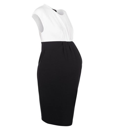 Maternity Black Colour Block Sleeveless Dress | New Look