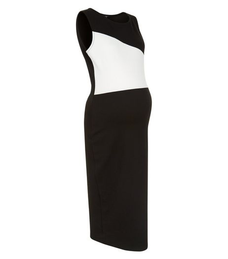Maternity Black Colour Block Midi Dress | New Look