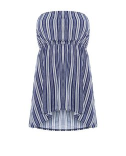 Plus Size Blue Stripe Bandeau Top | New Look