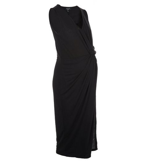 Maternity Black Wrap V Neck Midi Dress | New Look
