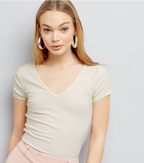 Cream V Neck Cap Sleeve T-Shirt  | New Look