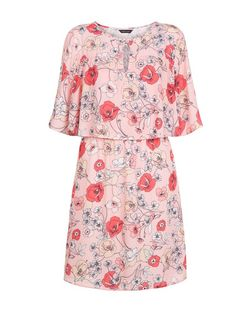 Pink Floral Print Keyhole Cape Skater Dress  | New Look