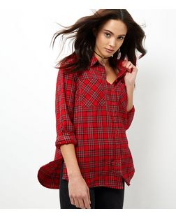 Red Tartan Check Long Sleeve Shirt | New Look
