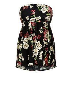 Plus Size Black Floral Print Bandeau Top | New Look
