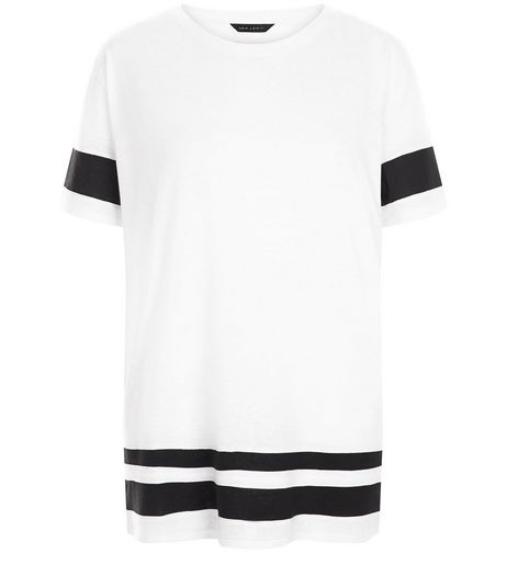 White Stripe Trim Baseball T-Shirt  | New Look