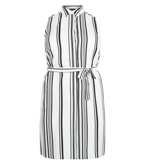 Curves White Stripe Tie Waist Sleeveless Shirt Dress  | New Look