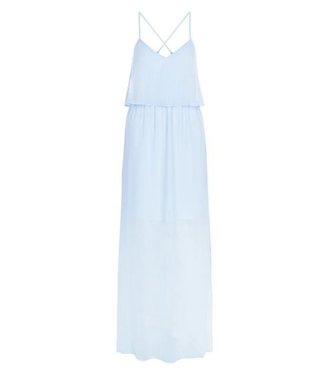 Blue Chiffon Layered Maxi Dress  | New Look
