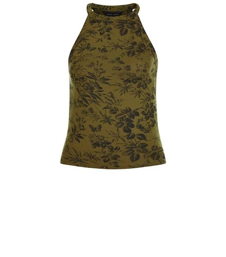 Olive Green Leaf Print Crop Cami | New Look