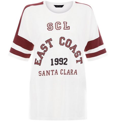 White Colour Block East Coast Baseball T-Shirt  | New Look