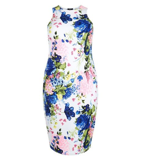 Curves White Floral Print Bodycon Dress | New Look