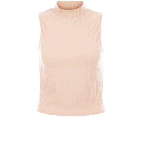 Stone Ribbed Sleeveless Turtle Neck Top | New Look