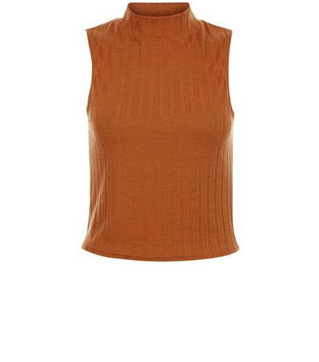 Rust Ribbed Sleeveless Turtle Neck Top | New Look