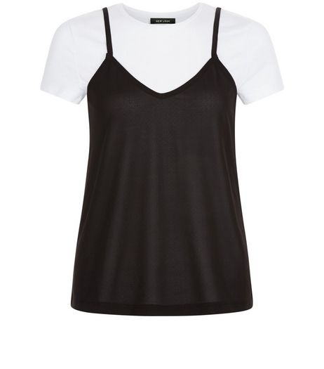 Black 2 in 1 Cami T-Shirt | New Look