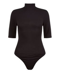 Black Funnel Neck 1/2 Sleeve Cut Out Back Bodysuit | New Look