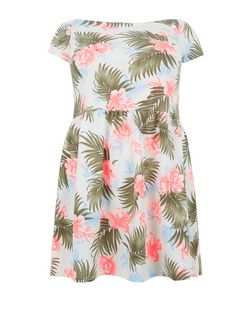 Curves White Tropical Print Bardot Neck Skater Dress | New Look