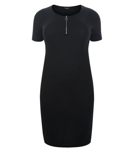 Curves Black Zip Front Bodycon Dress | New Look