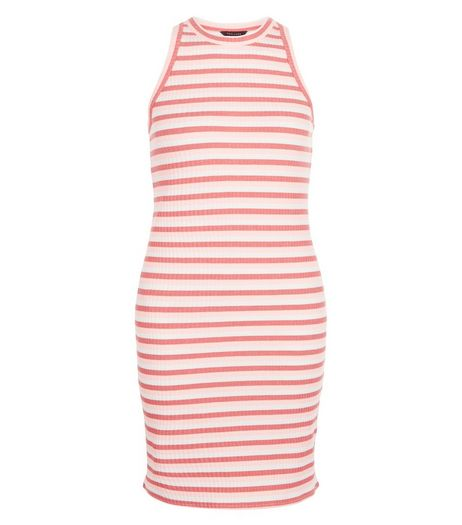 Red Ribbed Stripe Bodycon Mini Dress  | New Look