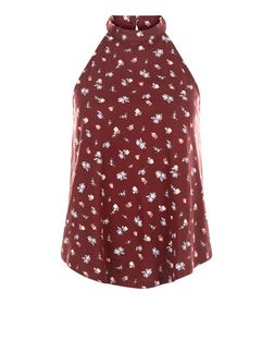 Burgundy Ditsy Floral Print High Neck Cami  | New Look