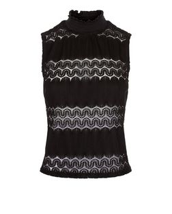 Black Lace Panel Sleeveless Turtle Neck Top | New Look