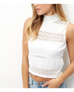 White Lace Panel Sleeveless Turtle Neck Top | New Look