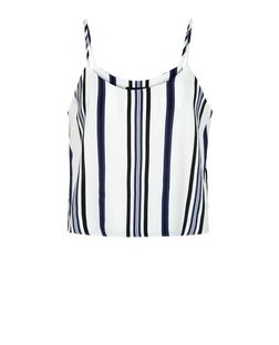 Petite White Stripe Cami  | New Look
