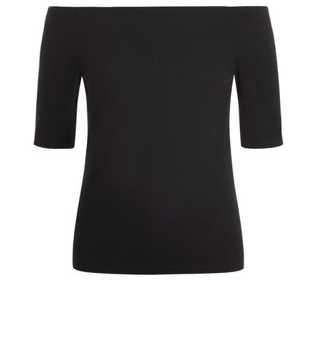 Tall Black 1/2 Sleeve Bardot Neck Top  | New Look