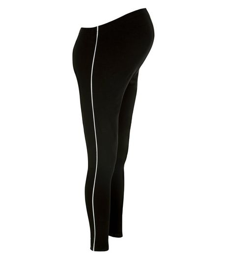 Maternity Black Over Bump Stripe Leggings | New Look