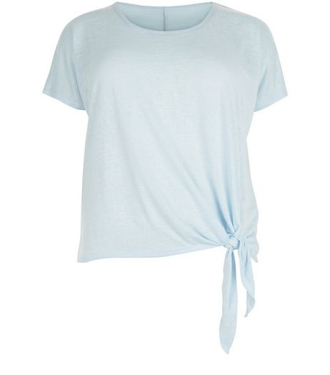Curves Pale Blue Tie Side T-Shirt | New Look