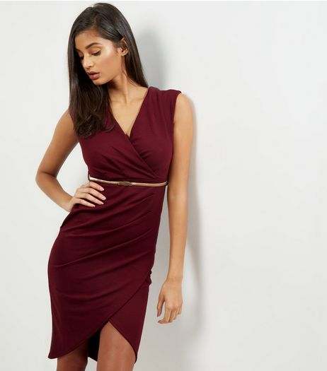 Burgundy V Neck Cap Sleeve Belted Bodycon Dress | New Look