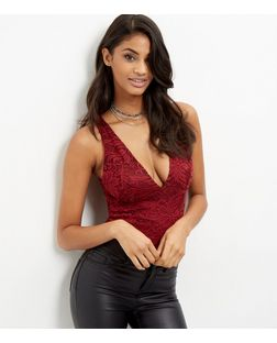 Burgundy Lace V Neck Bodysuit  | New Look