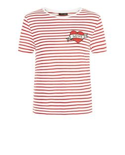 Red Stripe Heart Badge Short Sleeve T-Shirt | New Look