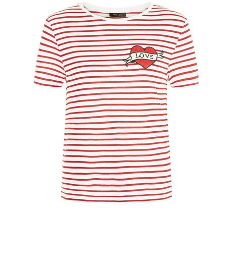 Red Stripe Heart Badge T-Shirt | New Look