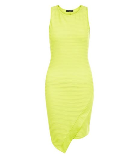 Petite Lime Ribbed Wrap Bodycon Dress | New Look